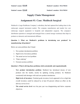 Supply Chain Management Assignment #1: Case: Meditech Surgical
