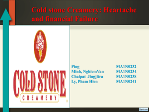 Cold stone Creamery: Heartache and financial Failure Ping MA1N0232