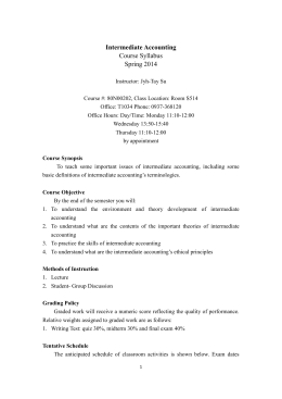 Intermediate Accounting Course Syllabus Spring 2014
