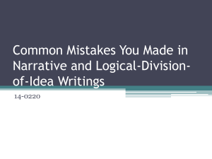 Common Mistakes You Made in Narrative and Logical-Division- of-Idea Writings 14-0220