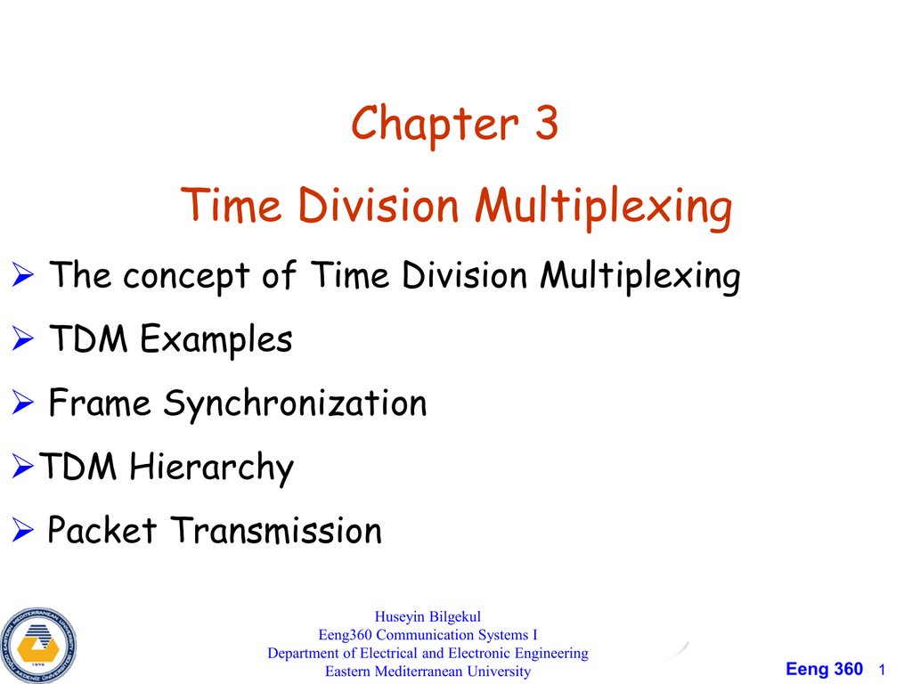 Chapter 3 Time Division Multiplexing