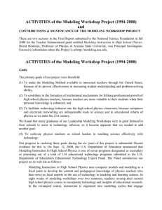 ACTIVITIES of the Modeling Workshop Project (1994-2000) and