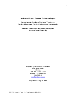 An End-of-Project External Evaluation Report Physics, Chemistry, Physical Science and Mathematics