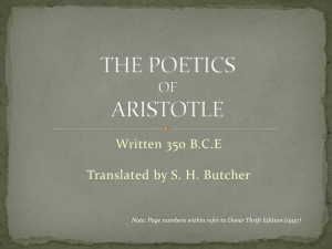 Written 350 B.C.E Translated by S. H. Butcher