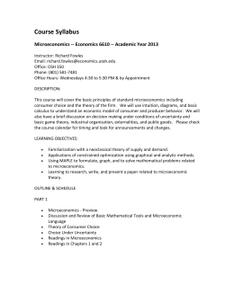 Course Syllabus  Microeconomics -- Economics 6610 -- Academic Year 2013