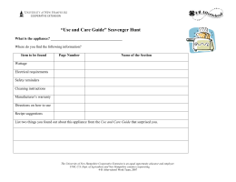 """Use and Care Guide"" Scavenger Hunt"