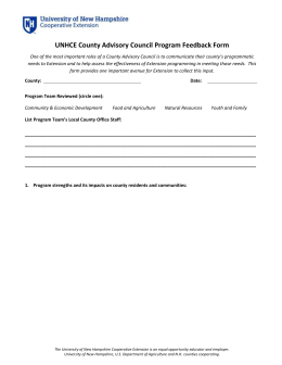 UNHCE County Advisory Council Program Feedback Form
