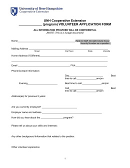 UNH Cooperative Extension _____________ (program) VOLUNTEER APPLICATION FORM