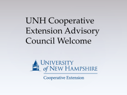 UNH Cooperative Extension Advisory Council Welcome