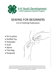 SEWING FOR BEGINNERS  A 4-H Clothing Publication  Pin Cushion