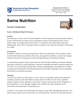 Swine Nutrition  General Considerations