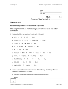 Mark ________/34 Chemistry 11  Correct and Hand in Again by ______________