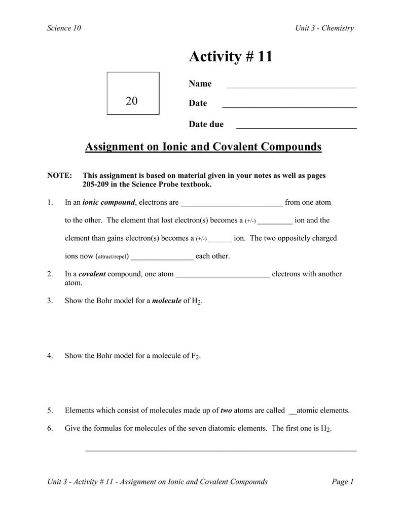 Worksheet Covalent Compounds Worksheet Carlos Lomas Worksheet For