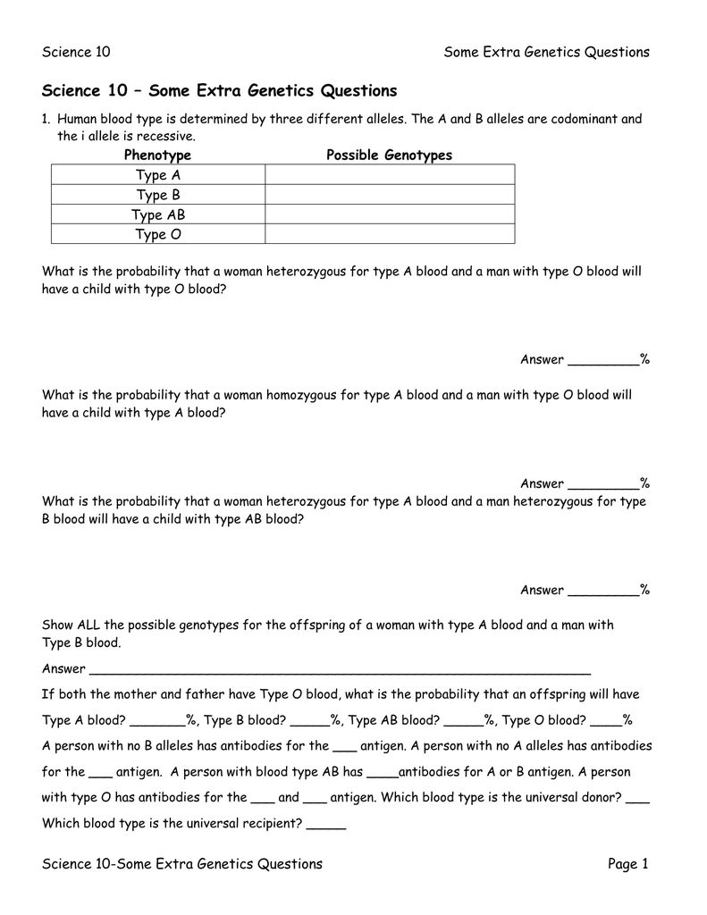 All Grade Worksheets Blood Type And Inheritance Worksheet All – Codominance Worksheet Blood Types