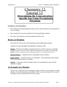 Chemistry 12 Tutorial 12  Determining the Concentration of a