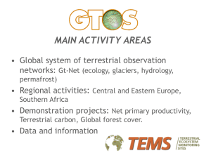 MAIN ACTIVITY AREAS • Global system of terrestrial observation networks: • Regional activities: