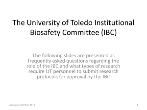 The University of Toledo Institutional Biosafety Committee (IBC)