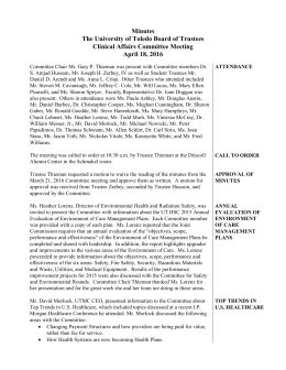 Minutes The University of Toledo Board of Trustees Clinical Affairs Committee Meeting