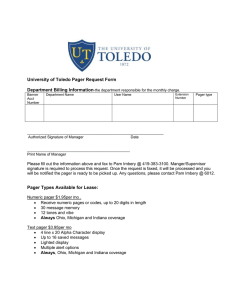University of Toledo Pager Request Form Department Billing Information