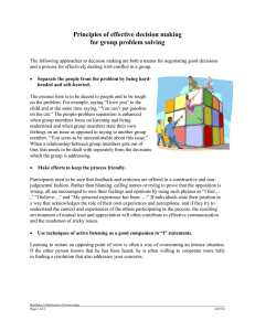 Principles of effective decision making for group problem solving