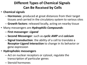 Different Types of Chemical Signals Can Be R by Cells eceived