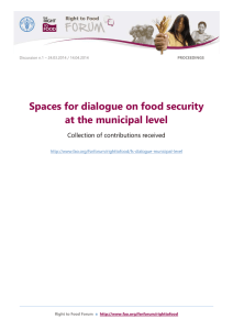 Spaces for dialogue on food security at the municipal level