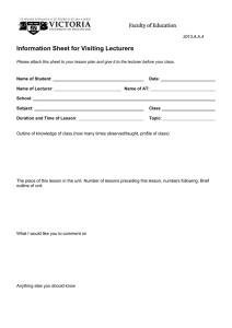 Information Sheet for Visiting Lecturers