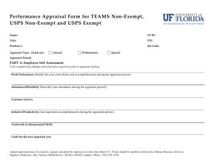 Performance Appraisal Form for TEAMS Non-Exempt, USPS Non-Exempt and USPS Exempt