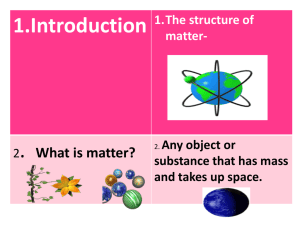 1.Introduction . What is matter? 1.The structure of