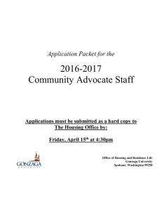 2016-2017 Community Advocate Staff Application Packet for the