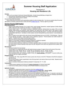 Summer Housing Staff Application  Housing and Residence Life Department of