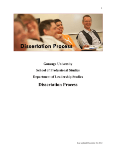 Dissertation Process Gonzaga University School of Professional Studies