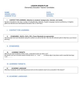 Austin Peay State University Lesson Plan Template Lesson Title - Otes lesson plan template