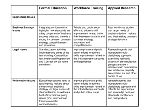 Formal Education Workforce Training Applied Research