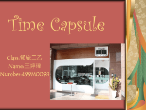Time Capsule Class:餐旅二乙 Name:王婷瑋 Number:499M0098