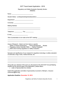 SOT Travel Award Application - 2016