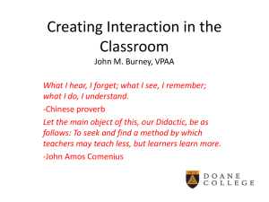 Creating Interaction in the Classroom