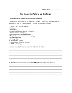 Pre Evaluation/Warm up Challenge