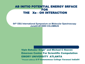 AB INITIO POTENTIAL ENERGY SRFACE FOR Emerson Center For Scientific Computation