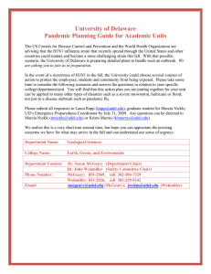 University of Delaware Pandemic Planning Guide for Academic Units