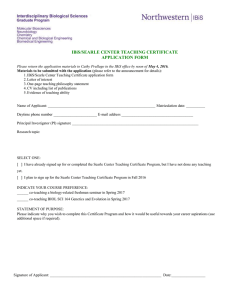 IBiS/SEARLE CENTER TEACHING CERTIFICATE APPLICATION FORM