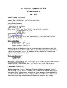 COLLIN COUNTY COMMUNITY COLLEGE  COURSE SYLLABUS FALL 2015