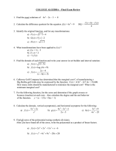 COLLEGE ALGEBRA – Final Exam Review  x f