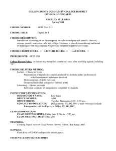 COLLIN COUNTY COMMUNITY COLLEGE DISTRICT DIVISION OF FINE ARTS  FACULTY SYLLABUS