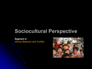 Sociocultural Perspective Segment 2: Group Behavior and Conflict 