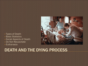 DEATH AND THE DYING PROCESS Types of Death Basic Statistics
