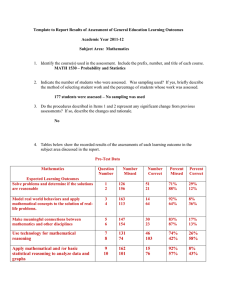 Template to Report Results of Assessment of General Education Learning...  Academic Year 2011-12 Subject Area:  Mathematics