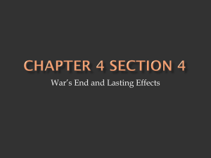 War's End and Lasting Effects