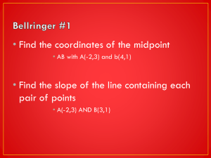 • Find the coordinates of the midpoint pair of points