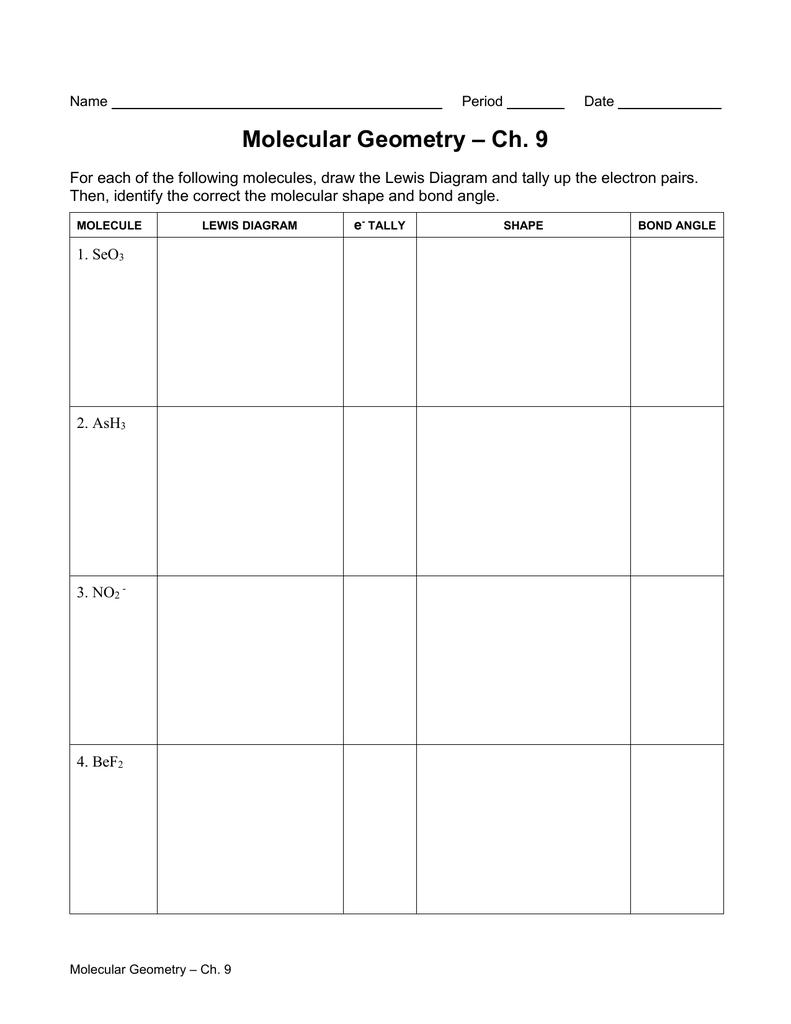 Ch. 9 Molecular Geometry